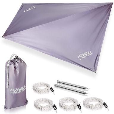 Foxelli Rain Tarp for hammock camping