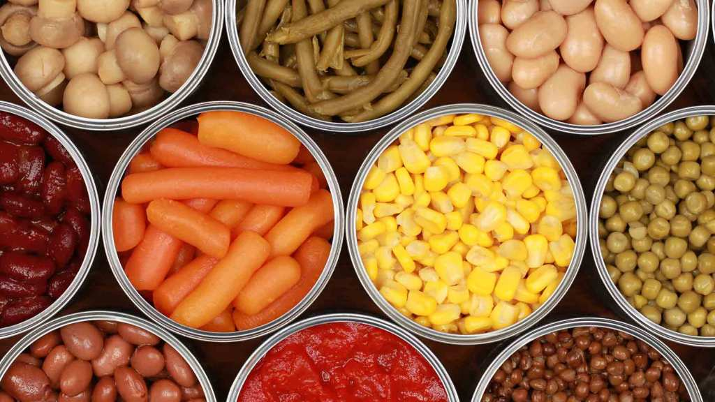 Canned goods for emergency food kits